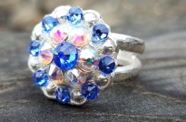 Jozee Girl Concho Ring ~ Sterling Silver ~ Choose your Crystal Colors