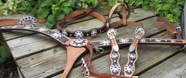 Best Seller!  Mega Bling Performance Package ~ Headstall, Breastcollar, Wither Strap and your choice Noseband or Spur Straps!